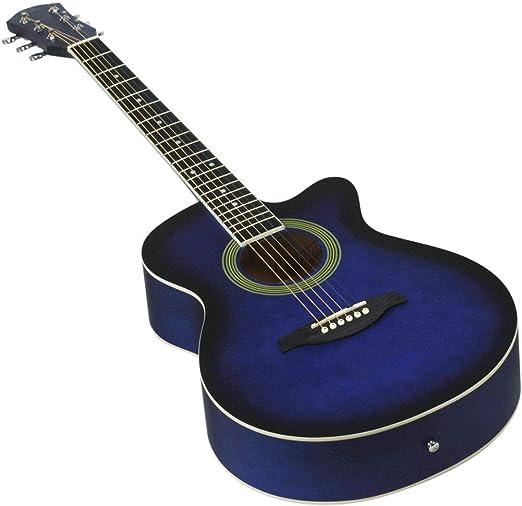NUYI-4 40 Pulgadas Guitarra acústica Azul Estudiante enseñando 40 ...
