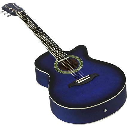 NUYI-4 40 Pulgadas Guitarra acústica Azul Estudiante enseñando 40 Pulgadas de Guitarra de Esquina