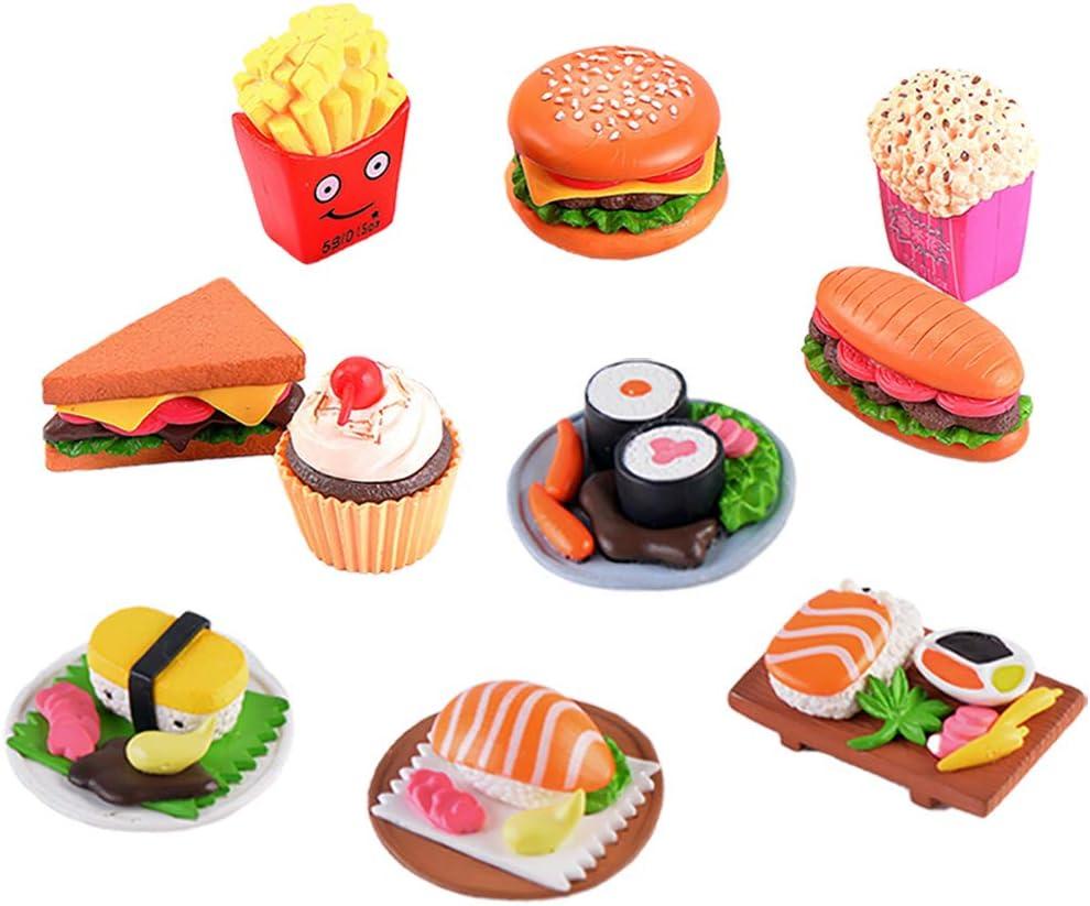 MAOMIA 10 Pcs Miniature Food Dollhouse Sushi Pretend Play Toy, Realistic Fake Hamburger Cake Model Photography Props Home Decoration
