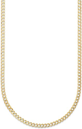 14k Solid Yellow Gold Chain Necklace 2.5 mm Curb Chain Cuban Link Gold Necklace
