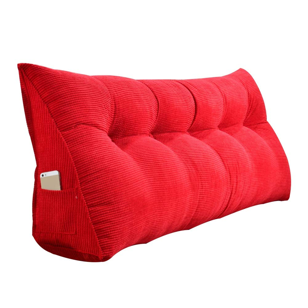 LIXIONG Bed Backrest Cushion Double Triangular Wedge Cushion Bedside Soft Cover Support Reading Lumbar Pillow Polyester,4 Colour,9 Size (Color : Red, Size : 135x20x50cm)
