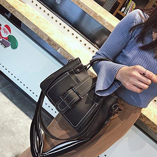Mode Retro Frauen Handtasche Kontrast Schulter Messenger Bag Damen Portable Office Bag Totes Top Griff Umhängetasche Black 71So9zS