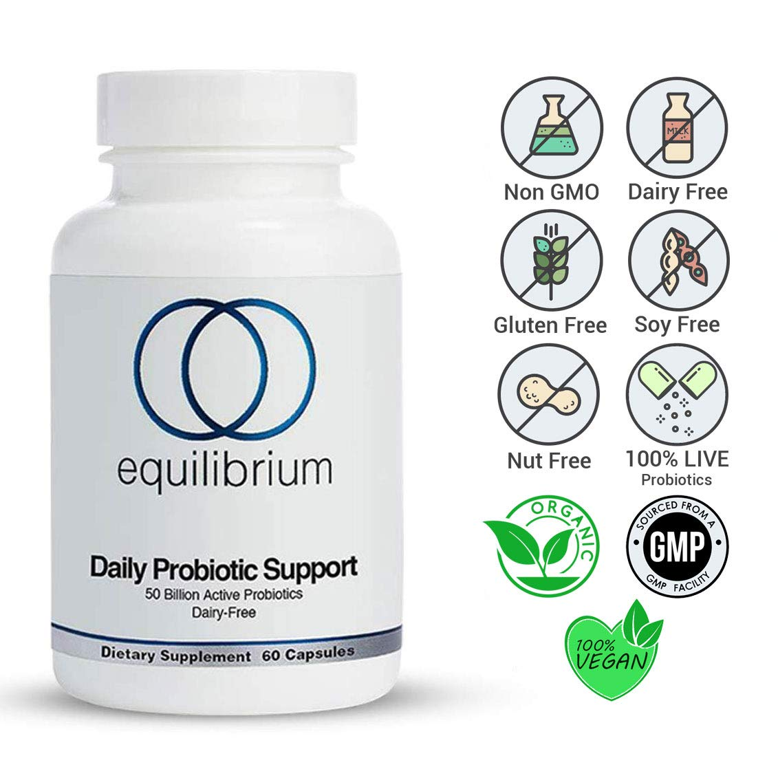 Equilibrium Nutrition Daily Probiotic Support, Dairy Free, High-Potency, Natural,50 Billion Live Probiotics Strain, Helps Improve Digestion, Metabolism & Energy for Children and Adults. 60 Capsules. by Equilibrium Nutrition