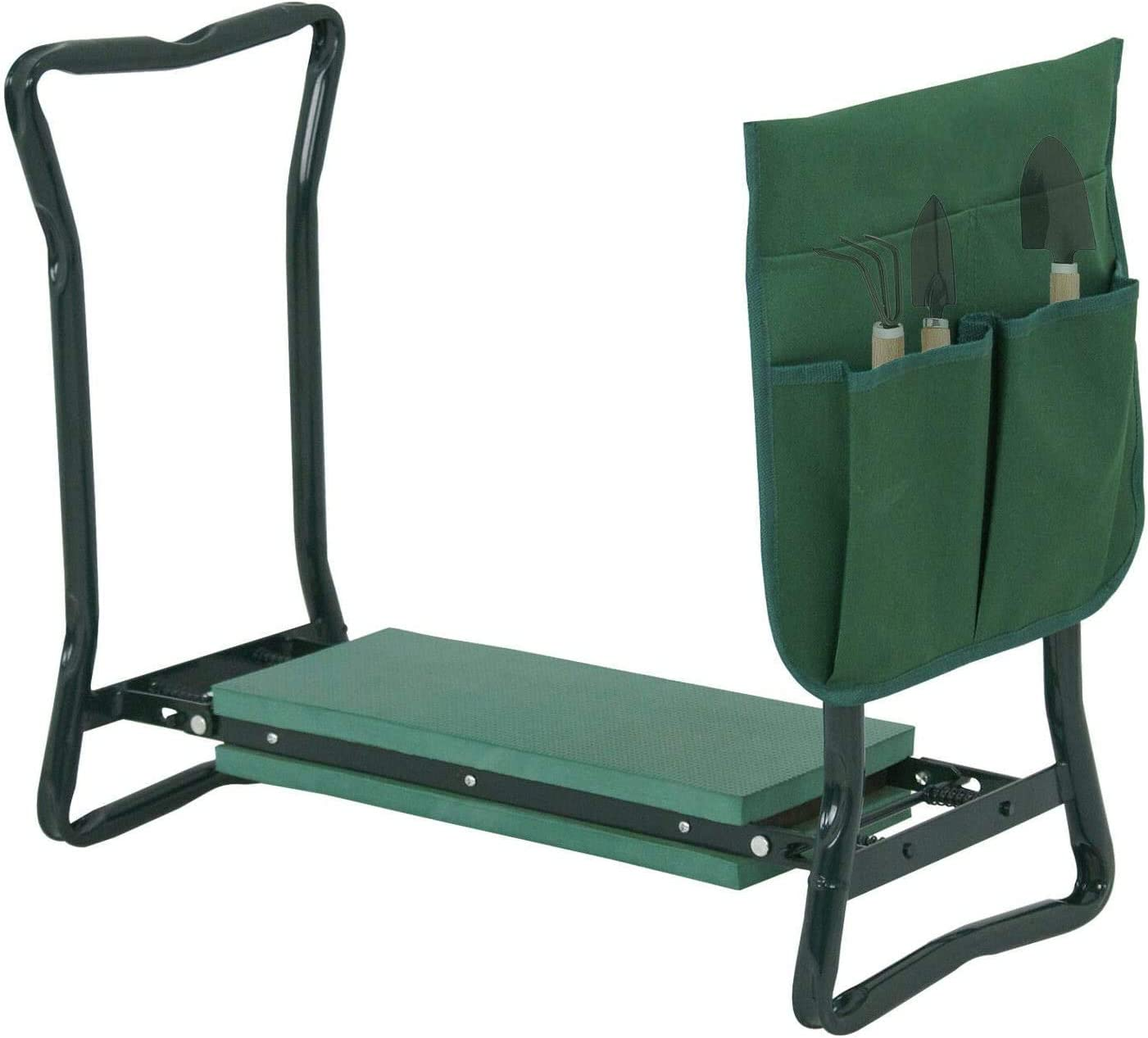COLIBROX 24 inch 250-lbs Foldable Kneeler Garden Bench Stool Soft Cushion Seat Pad Kneeling with Tool Pouch