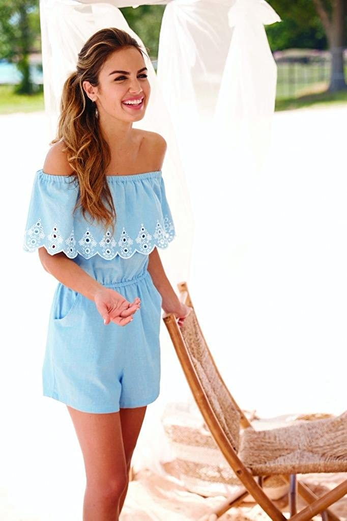 0235fb466b1 Amazon.com  Mud Pie Women Matching Moms   Minis Juniper Off-The-Shoulder  Romper Blue  Clothing