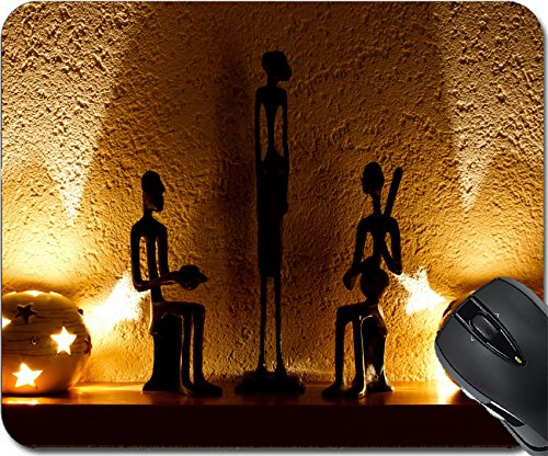 MSD Natural Rubber Mousepad Mouse Pads/Mat design: 11754861 three African figurines and tambourine in the soft of candles - African Ebony Natural