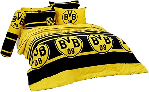 BVB 09 housse//coussin Mur jaune 2 pi/èces Parure de lit Borussia Dortmund en flanelle L