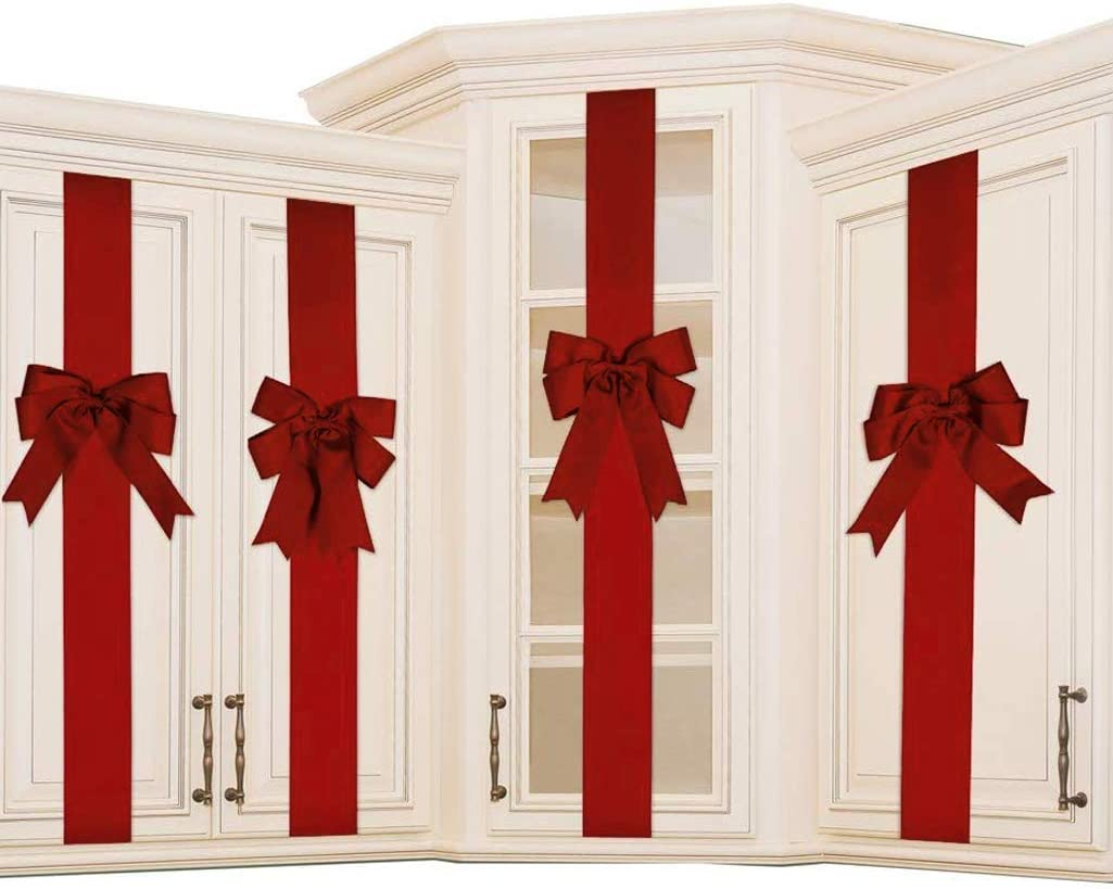 K KIRKWOOD KITCHEN 4 PCS Cabinet Door Festive Ribbons and Bows Decoration Holidays