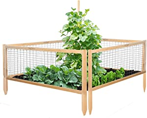 SUNCROWN Wooden Frame Outdoor Metal Garden Fence Kit for Vegetables Fruits Herb Grow,Patio or Yard Gardening
