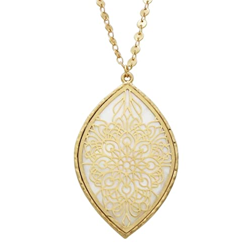 Amazon.com  Rosemarie Collections Women s Openwork Flower Mother of Pearl  Long Pendant Necklace (White)  Jewelry 22b23f35b1