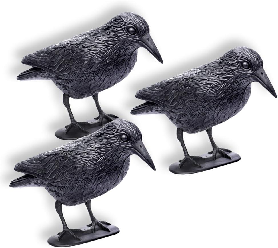 Schramm® 3 Piezas Cuervos sentados Paloma Negra Miedo a los pájaros Miedo a los Cuervos de plástico Defensa de Las Palomas