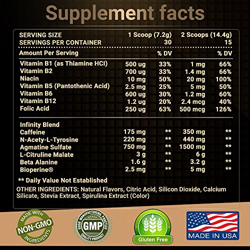 RARI-Nutrition-INFINITY-100-Natural-Pre-Workout-Powder-for-Energy-Focus-and-Performance-No-Creatine-No-Artificial-Flavors-or-Colors-Vegan-and-Keto-30-Servings-Strawberry-Lemonade