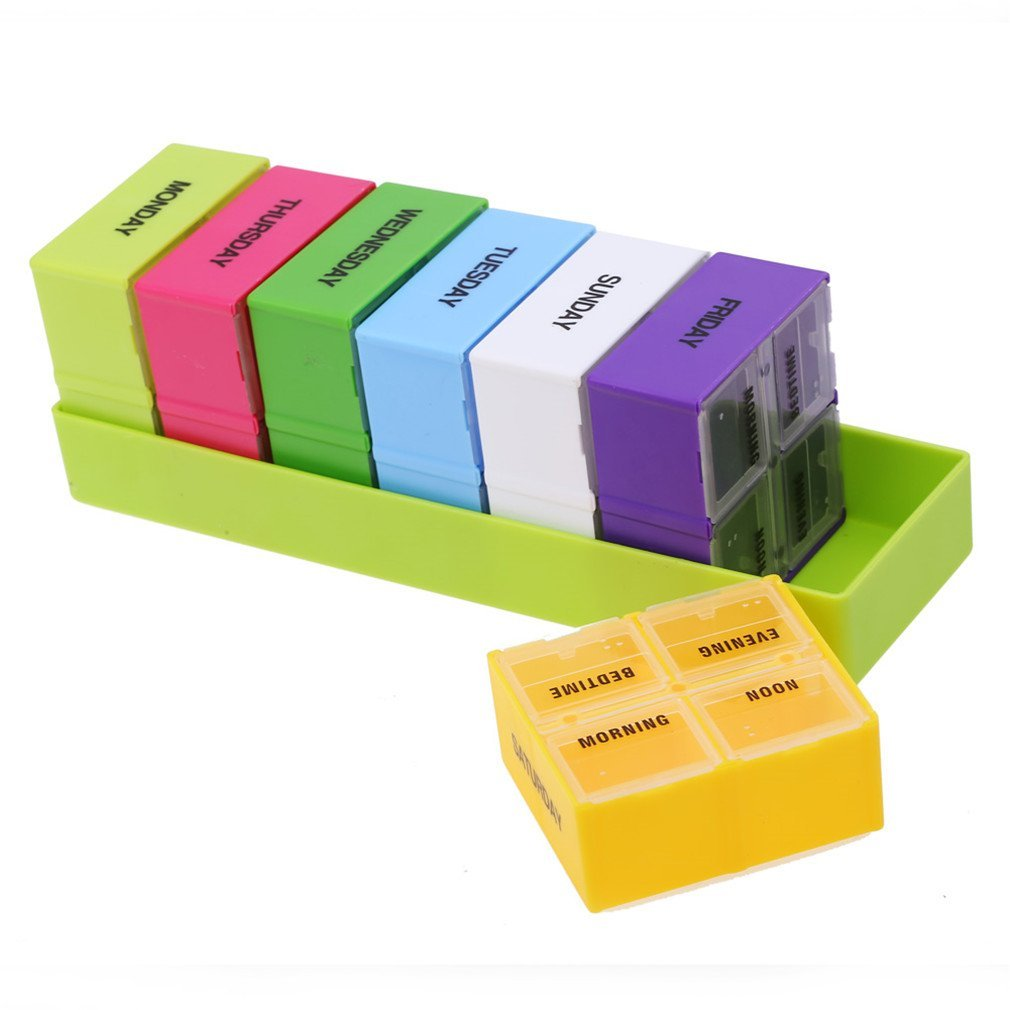 BOSOMEE Portable Pill Box Weekly 7 Day Medicine Box Holder 28 Slot Folding Health Pill Cases