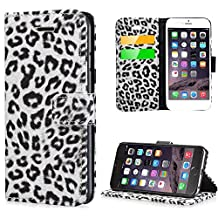 """Valentoria iPhone 6 Case,LEOPARD Leather Wallet Flip Cover Stand Case for Apple iPhone 6 4.7 inch (4.7"""") Best Friends Gifts for Women Christmas Gifts Ideas (Grey)"""
