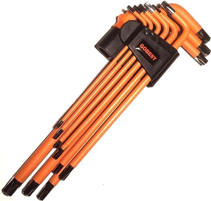 Lot de 9/cl/és Allen inviolable Torx de s/écurit/é magn/étique GB-0022 GOBEST bras long