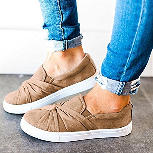 Huiyuzhi Womens Slip On Top geraffte Knoten Flatform Fashion Sneakers Khaki