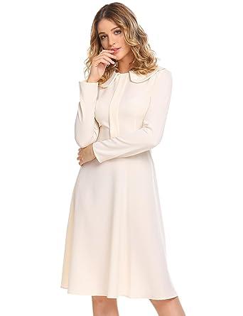 3a71f8f4b81586 Chigant Damen A-Linie Bubikragen Kleid Langarm Knielang Kleid Partykleid  für Herbst Winter
