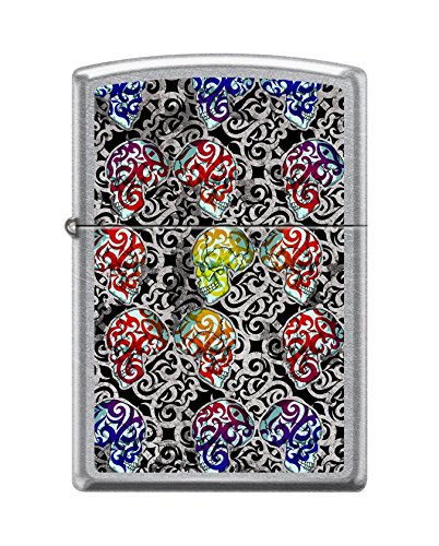 (Zippo Custom Lighter Design Colorful Day of The Dead Skulls Windproof Collectible Lighter - Cool Cigarette Lighter Case Made in USA Limited Edition & Rare)