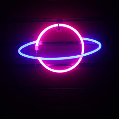 Wanxing Planet Neon Signs Led Neon Wall Sign Pink Blue Neon Lights For Bedroom Kids Room Hotel Shop Restaurant Game Office Wall Art Decoration Sign Party Supply Gift Pink Blue