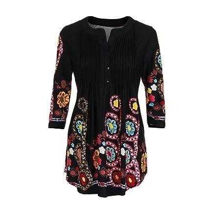Tops mujer,Camiseta estampada con cuello redondo y manga larga para mujer Ba Zha Hei
