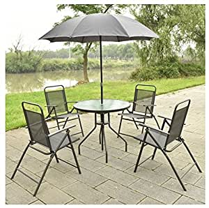 MD Group Patio Sets Foldable Round Table & Chair Heavy-duty Steel Frame Outdoor Furniture 6pcs