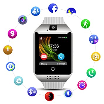 Smart Watch QIMAOO Q18 Reloj Inteligente Bluetooth 3.0 HD Pantalla Análisis de Sueño, Podómetro, Fitness Tracker con cámara TF/SIM Ranura para Tarjeta ...