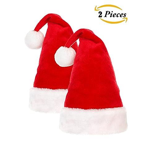 Cappello da Babbo Natale  2 confezioni Cappelli di Babbo Natale con  finiture in peluche per 20122f8325b2