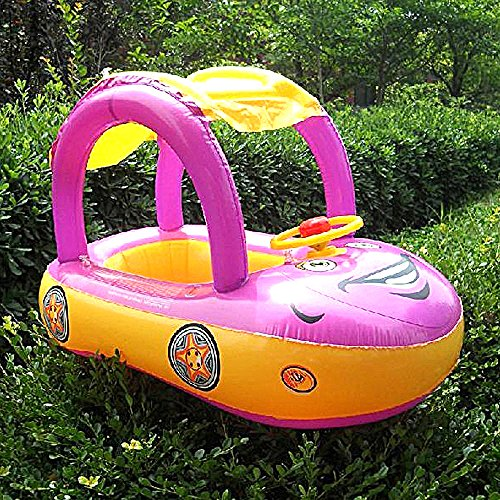 Popular Carton Sunshade Baby Float Seat Boat,with Two Hole and a Canopy ,Adjustable&Inflatable Toddler Swimming Pool Bath Ring