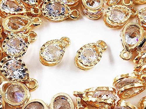 ファイニエ チャーム 50個 しずく ドロップ ゴールド アクセサリーパーツ ネックレス ピアス イヤリング 素材 AP1188