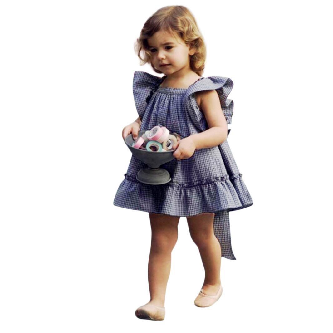 Vestido De Pajarita De Cuadros De Bebé AIMEE7 Vestido De Remiendo De Las Muchachas Recién Nacidas Del Bebé Vestido De La Tela Escocesa De Bowknot Del Vestido De Ropa