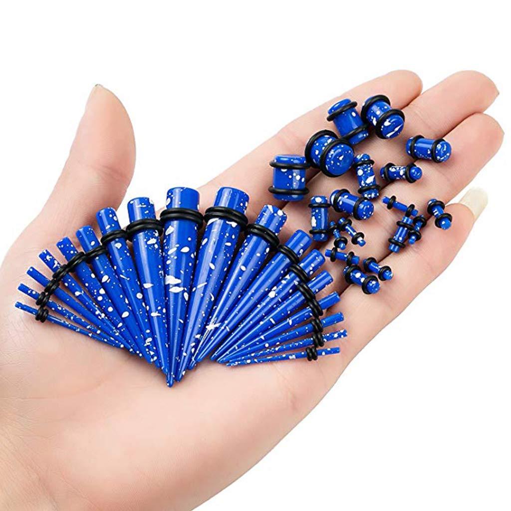 IPOTCH 36x Túnel de Oídos Tapones Perforación Piercing Dilatador de Acrílico para Orejas - Azul Marino: Amazon.es: Joyería