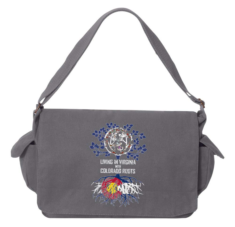 Tenacitee Living In Virginia with Colorado Roots Grey Brushed Canvas Messenger Bag