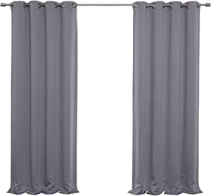 """Best Home Fashion Thermal Insulated Blackout Curtains - Antique Bronze Grommet Top - Grey - 52"""" W x 84"""" L - (Set of 2 Panels)"""