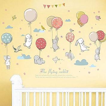 Wandtattoo Aquarelltiere Hasen Babys mit Luftballons Kinderzimmer