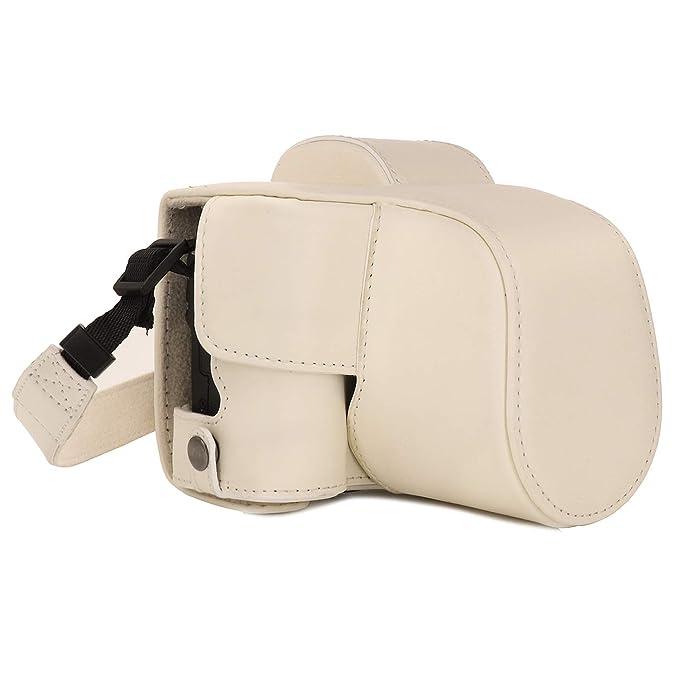 MegaGear MG1449 Canon EOS M50 (15-45mm) Ever Ready Leder Kamera-Case mit Trageriemen - Weiß