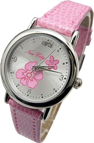 Nuevo ciudad moderna reloj para niñas. Color rosa. Japón movimiento de cuarzo.: Amazon.es: Relojes