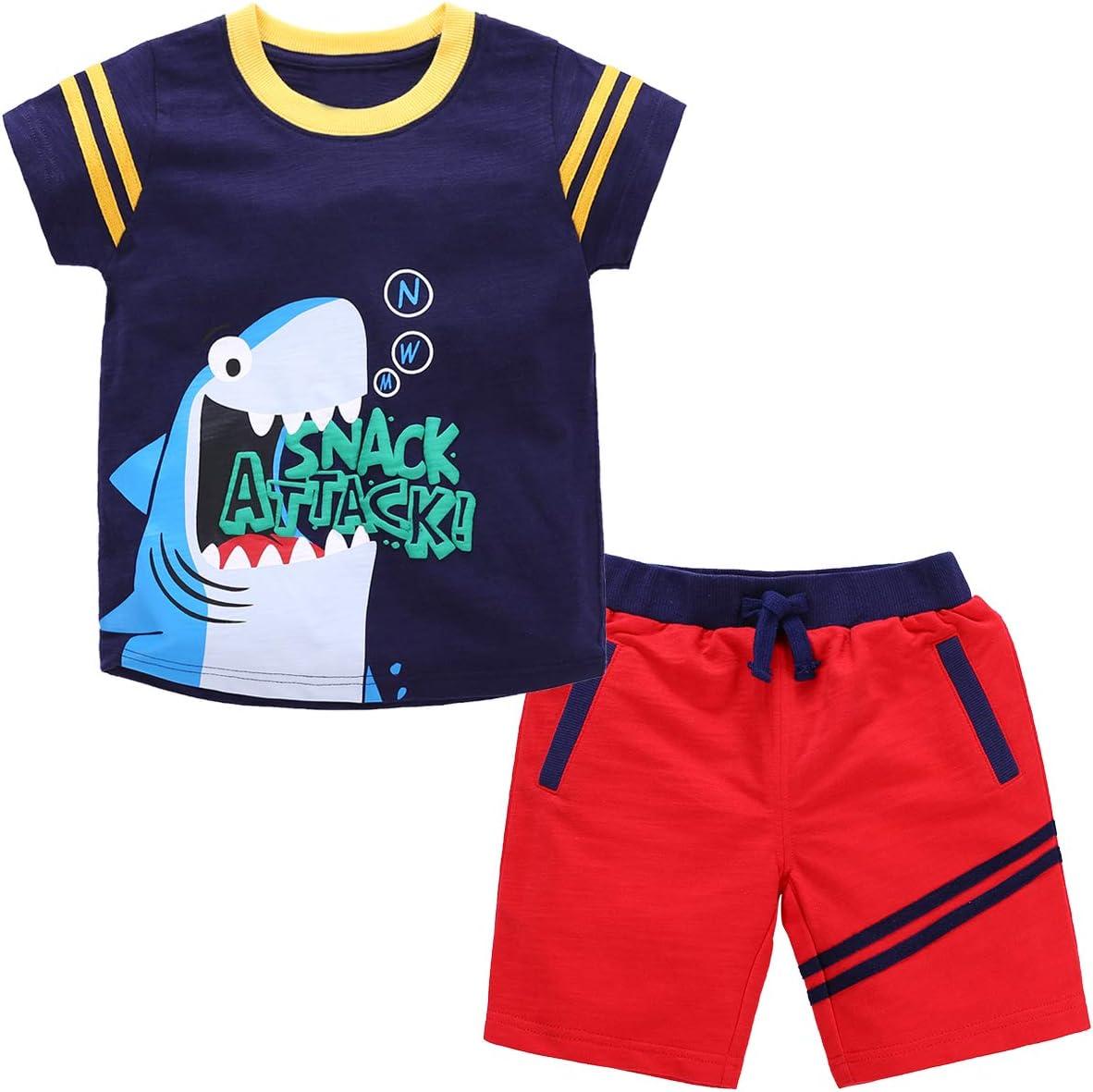 Kanodan Toddler Baby Boy Short Set Outfits Summer Short Sleeve T-Shirt+Stripe Short Pant Clothes Sets