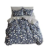 ORUSA Cotton Girls Floral Teen Bedding Sets Full Size with 2 Pillow Shams Flower Striped Queen Duvet Cover Set for Kids Adults Women Student White Navy Blue Reversible, Queen/Full, Style b