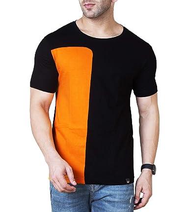 Veirdo Men's Cotton T-Shirt (Tsh_14 _Blkorng_P) Men's T-Shirts at amazon