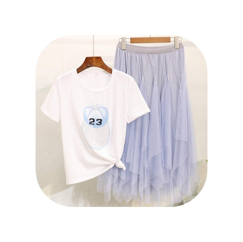 bluee cap Cute Emma Female New Pearl Bear Printed Short Sleeve TShirt + Mesh Skirt Fashion Two Piece Suit Female Student