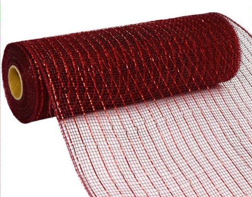 10 inch x 30 feet Deco Poly Mesh Ribbon (Metallic Burgundy and Red Foil) : RE130161