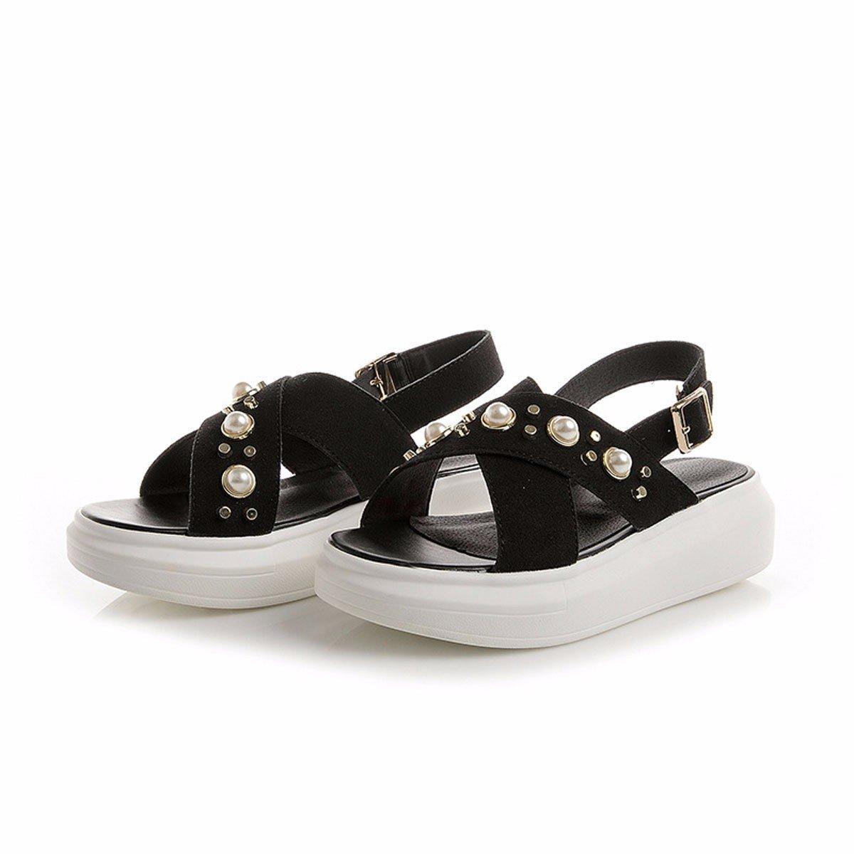 HBDLH Damenschuhe atmungsaktiv bequem Schuhe Die Muffins Dicken Hintern Sandalen Flache Schuhe Metallknöpfe Summer.