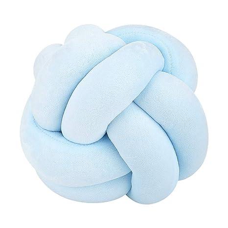 Bebé trenzado nudo tejido Throw Pillow para cama sofá piso cojín decoración suave creativo peluche de juguete para niños y niñas(Azul)