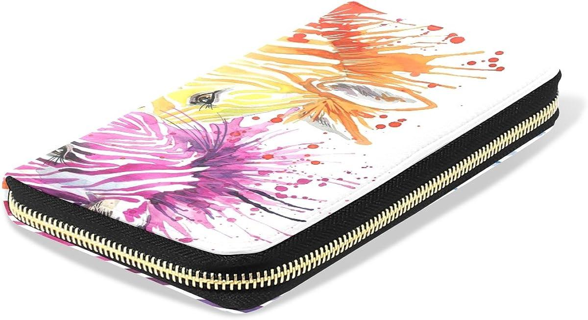 Womens Zebra Love Watercolor Pattern Long Wallet /& Purse Case Card Holder