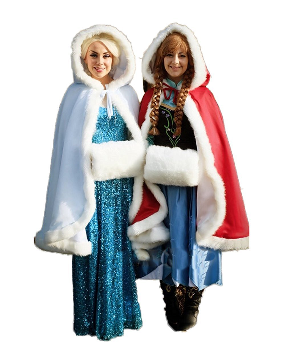 JCdress Women Winter Coat Frozen Bridal Cape Faux Fur Short Wedding Cloaks Wraps (Red/White, Regular)