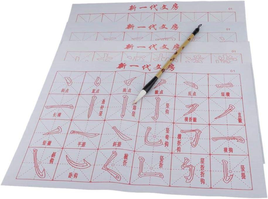 dailymall 6 Feuilles R/éutilisables Calligraphie Chinoise Pinceau Eau /écrit Chiffon Magique Pour La Calligraphie Chinoise Pinceau Sumi Ensemble