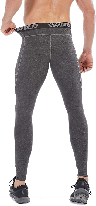 SILKWORLD Mens 1~3 Pack Compression Pants Pockets Dri Fit Gym Leggings Baselayer Running Tights
