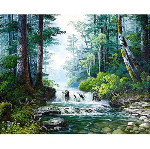 DIY 5D Full Drill Diamond Painting,Jchen(TM) Home Decorations Craft Mountain Dog Dolphin 5D DIY Diamond Painting Kit Pasted DIY Diamond Painting Cross Stitch (Creek) (Sale Paintings For Mountain)