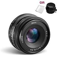 CRAPHY Obiettivo Sony 35mm F/1.7 di Apertura Grande, Obiettivo Fisso Manuale,E-mount Fotocamera APS-C per NEX 3, NEX 3N, NEX 5, NEX 5T, NEX 5R, NEX 6, 7 A5000, A5100, A6000, A6100, A6300, A6500