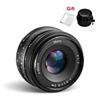CRAPHY Obiettivo Sony 35mm F/1.7 di Apertura Grande, Obiettivo Fisso Manuale, Primo Obiettivo E-mount Fotocamera APS-C con Panno di Pulizia per Sony E NEX 3, NEX 3N, NEX 5, NEX 5T, NEX 5R, NEX 6, 7 A5000, A5100, A6000, A6100, A6300, A6500